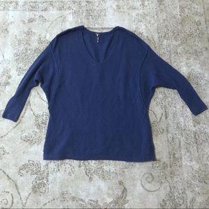 Free People Blue V Neck 3/4 Sleeve Sweater